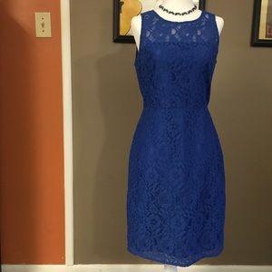 J. Crew blue floral  lace cocktail dress size 2